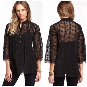 Anthropologie Nick & Mo Black Lace Top